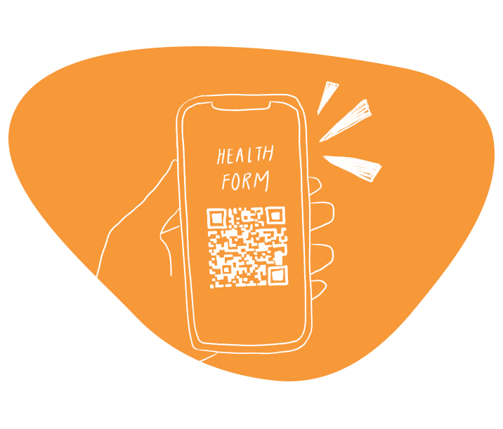 Phone showing a health form with QR code link